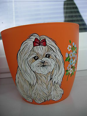 Maltese Handpainted  Flower Pot -01