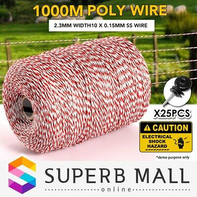 1000M Roll Electric Fence Energiser Stainless Steel Polywire Rope w/ Insulators