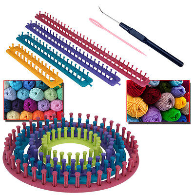 Knitting Crochet Boards Looms Craft Kit Childrens Adults Sock Glove Hat Making