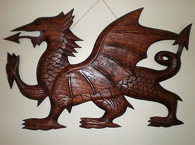 Medieval Welsh Dragon Wall Art Decor Hanging Carving Hand Carved Wood Balinese