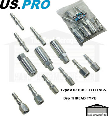 BERGEN Tools 12pc One Touch Air Line Hose Fittings Couplings Set NEW 8040
