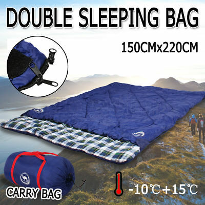 Double Outdoor Camping Sleeping Bag Hiking Thermal Winter -10°C 220x150 CM Blue