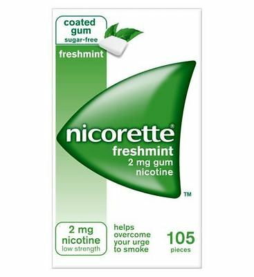 Nicorette Chewing Gum 2mg Freshmint Flavour 105 Pieces Stop Smoking Aid