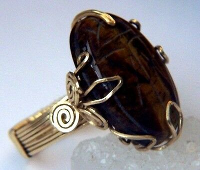 Egyptian SCARAB Ring TIGER'S EYE LARGE 25 Carats 14kgf Gold size 7.5