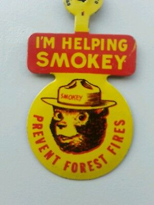 VINTAGE 1950s LAPEL SMOKEY BEAR BEND OVER PIN FOREST ECOLOGY US HISTORY not used