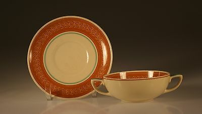 Susie Cooper Cream Soup Bowl and Underplate, Leaf Pattern, England c.1930