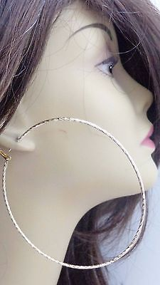 Large Hoop Earrings Textured Thin Hoops Gold Or Silver Tone 4 Inch