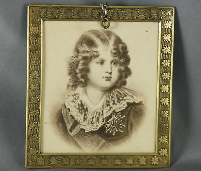 Antique Brass Picture Frame Hanging with Le Roi de Rome Photogravure