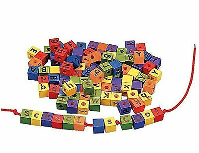 104 Colorful Wood Alphabet Lacing Beads