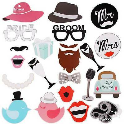 22pcs Wedding Hen Party Night Selfie Photo Booth Props Kit Hen Do Accessories