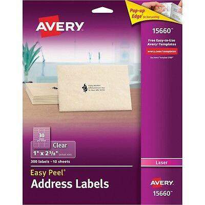 Clear Easy Peel Mailing Labels, Laser, 1 x 2 5/8, 300/Pack