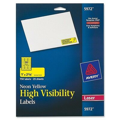 High Visibility Rectangle Laser Labels, 1 x 2 5/8, Neon Yellow, 750/Pack