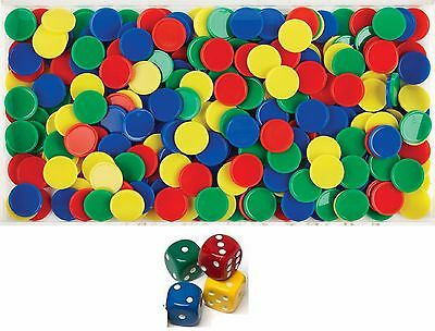4 Dice + 100 Math Counters Educational Number Patterning Sorting School Numeracy