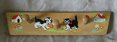 Vintage Wooden Children Wall Peg Coat Hanger Rack Mid Century Retro Play School
