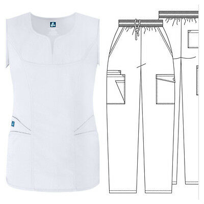 New Adar 2632 Top Medical Scrub for Women>Unisex Pant or Top>White/Cargo/Petite>