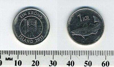 Iceland 2011 - 1 Krona Nickel Plated Steel Coin - Giant facing - Cod
