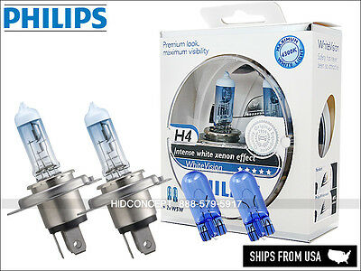 H4 9003 PHILIPS White Vision Halogen Bulbs HB2 12342WHVSM MAX WHITE LIGHT +2 W5W