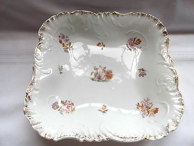 Vintage Square Hand Painted Bowl Made In Germany - Beautiful Gold Detailing
