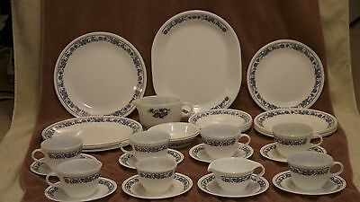38 Corning Old Town Blue Set - 1 Platter, 19 Plates, 4 Bowl&up & 6 Cups W/ Under