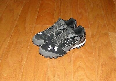 Under Armour Baseball Cleats Shoes Size 5Y Black Gray 1246748-002 UA Leadoff Low