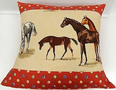 """Beautiful Handmade Horses Pillow by Cathy Wade of Kentucky Red Accent Fabric 19"""""""