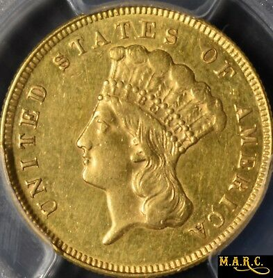 1874 AU55 secure! PCGS 3$ Gold Indian Princess! PCGS Photo!! Free Shipping, MARC