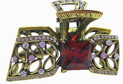 "New Antique Gold Ruby Red  Crystal  Bow 2"" Hair Claw Clip"