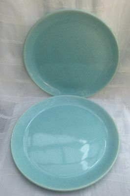 """1940's BRUSCHE Bauer Pottery 10"""" Speckled Turquoise DINNER PLATES Set of 2"""