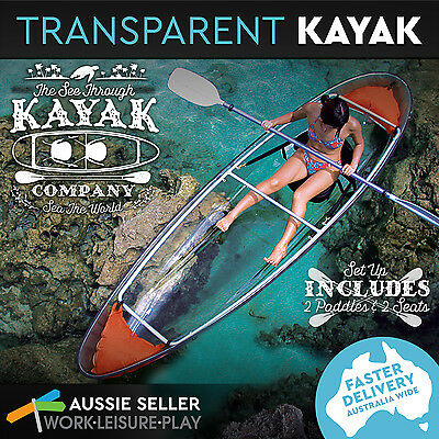 New Kayak Clear Transparent See Through Fishing Ocean Canoe 2 Person Seater Boat