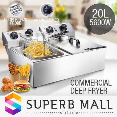 5600W Commercial Electric Deep Fryer Double Basket Frying Chip Cooker 20L