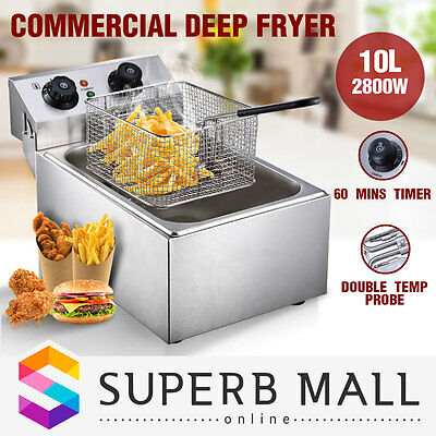 2800W Commercial Electric Stainless Steel Deep Fryer Frying Basket Cooker 10L