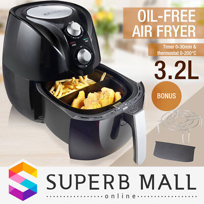 3.2L Deep Air Fryer Kitchen Healthy Rapid Cooker Oil Free Low Fat with Alarm BK