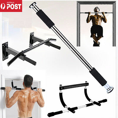 Portable Bar Chin Pull Up Doorway Gym Body Exercise Workout Fitness Trainer AU
