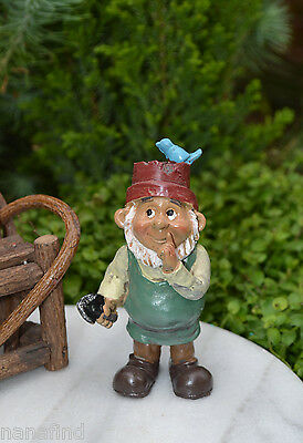 Miniature Dollhouse FAIRY GARDEN Accessories ~ Gardener Gnome with Bird ~ NEW