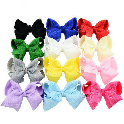 12 pcs/lot 4 Inch Baby Girls Lace Hair Bows Kids Ribbon Bowknot Headwear Clip
