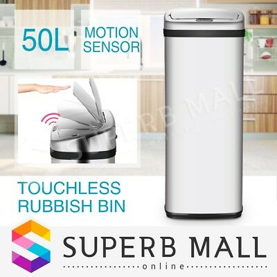 50L Automatic Infrared Motion Sensor Touchless Stainless Steel Rubbish Waste Bin