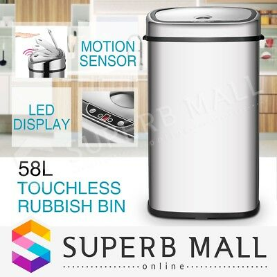 58L Automatic Infrared Motion Sensor Stainless Steel Rubbish Kitchen Office Bin