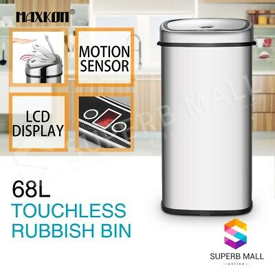 68L Stainless Steel Infrared Motion Sensor Automatic Rubbish Bin Kitchen Office