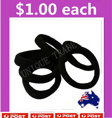 1 x Black Snagless Soft Cotton Hair band Elastic Hair Ties Rope Ponytail Holder