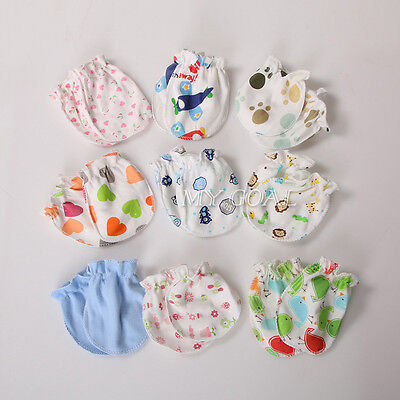 6Pcs Newborn Baby Infant Cotton Handguard Anti Scratch Teething Mitten Gloves UK
