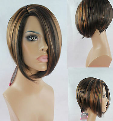 Fashion Bob Style Ladies Short Wig Medium Brown Black Full Wigs Hair Cosplay