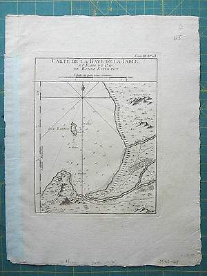AFRICA SOUTH AFRICA CAPE OF GOOD HOPE TABLE BAY Bellin 1760 orig. antique map