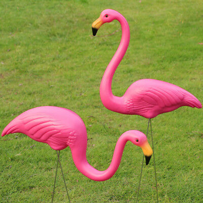 2Pcs Plastic Flamingo Lawn Figurine Garden Party Grassland Ornaments Decor Pink