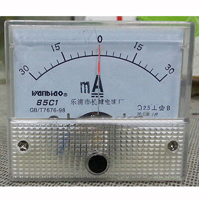 85C1-A DC -30mA-0-30mA Analog Panel AMP Current Meter Ammeter Gauge 85C1 White