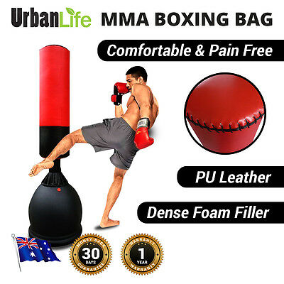 Kick Boxing Bag MMA 165cm HEAVY DUTY Free Standing Home Gym Punching PU LEATHER