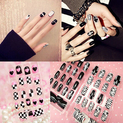New Black&White French False NailsArt Design Nail Tips With Glue 24pc/Pack