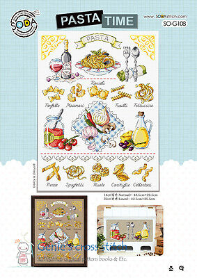 """PASTA TIME"" cross stitch chart or kit SO-G108 sodastitch"