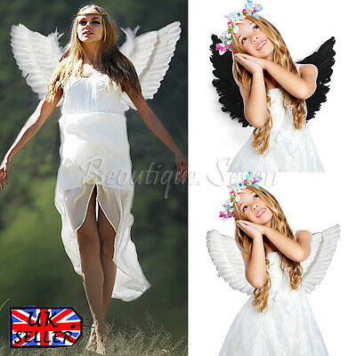 Angel Fairy Large Adult Kids Feather Wings Costume Fancy Night Party Halloween