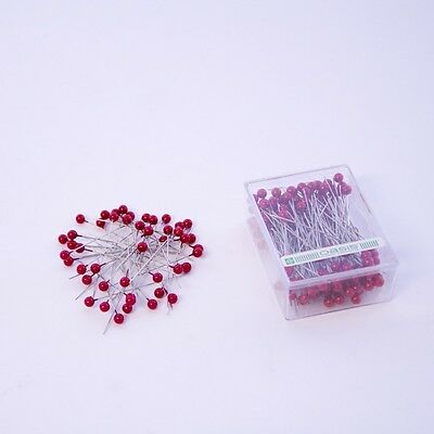 6mm Round Pearl Headed Wedding Floristy  Pins x 144 - Red
