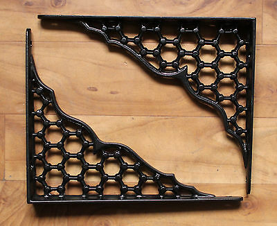 "Pair of 8"" x 10"" LARGE CAST IRON SHELF BRACKETS VICTORIAN HEAVY ANTIQUE BLACK"